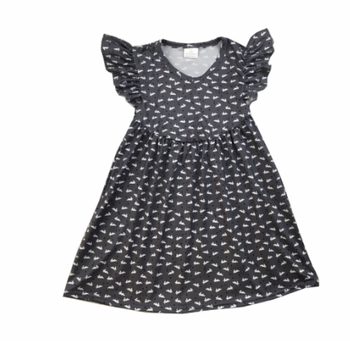 girls party cool dress black polka dot pattern toddler baby girls frock ruffled sleeve dress