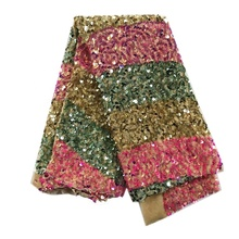 wholesale african embroidered velvet sequin <strong>fabric</strong> for wedding dress