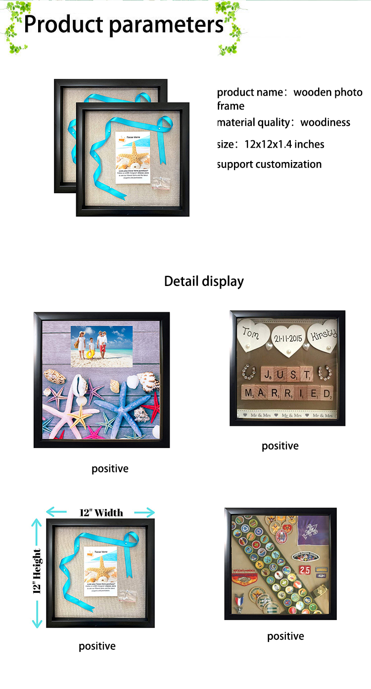 12x12in Display Shadow Box with Linen Background Wood Picture Frame Boxes Display Case Baby and Sports Memorabilia Wedding Wall