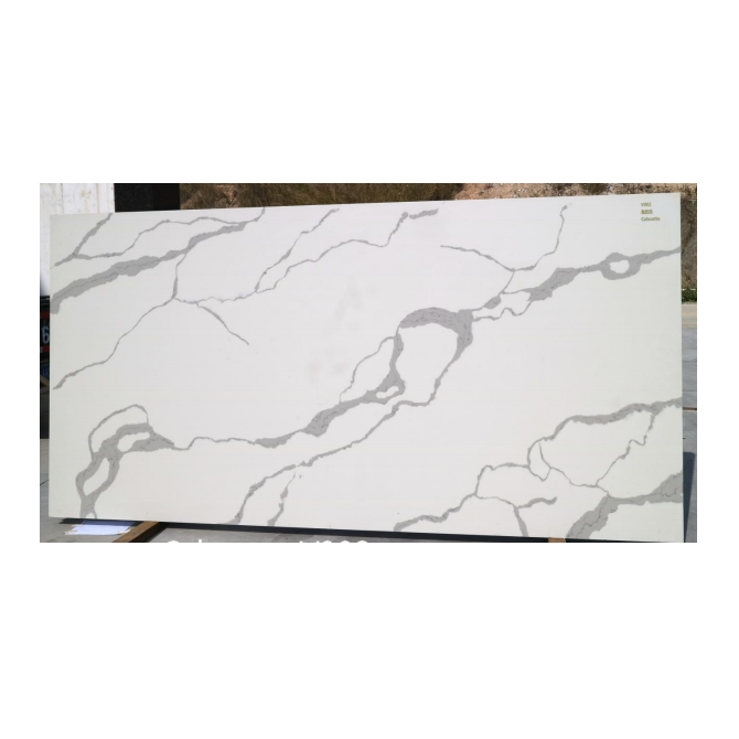 2019 Hot Sale Calacatta White Artificial Quartz Slabs 3200