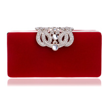 hot sale red color velvet elegant beautiful female banquet gold clutch purse