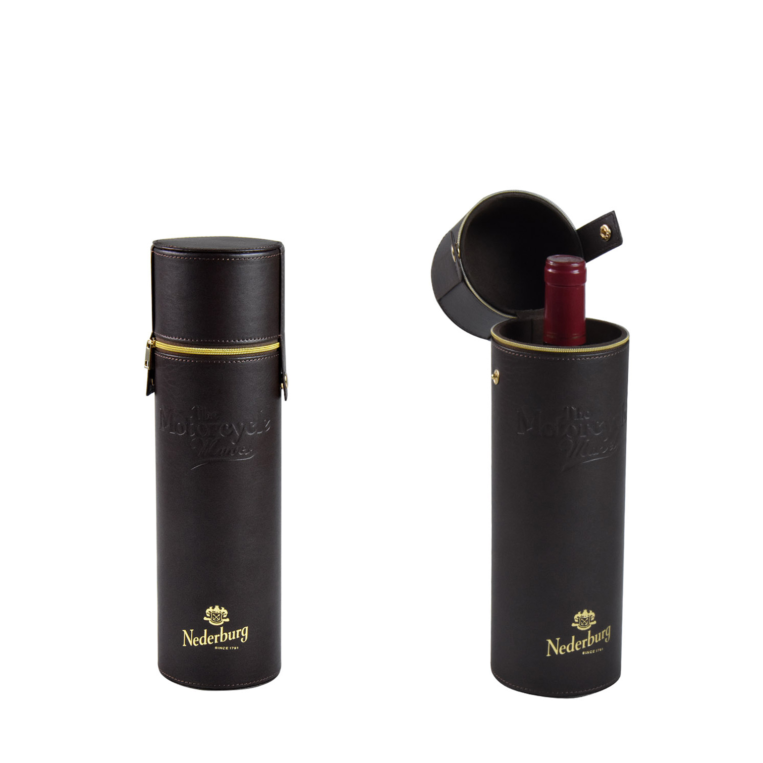 Wholesales custom single bottle leather cylinder zipped wine gift box