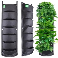 56 Pockets Vertical Planter Garden Wall Hanging Felt Grow Plant Pots Storage Bag Pouch Root Container
