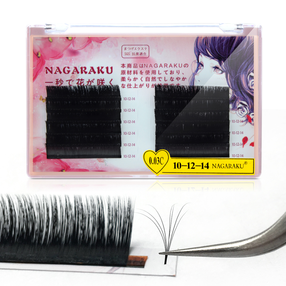 NAGARAKU Eyelash Extension Auto fans Lash Bloom Easy Fanning Faux Mink Self fan 0.03 <strong>J</strong> B C D Multiple layers