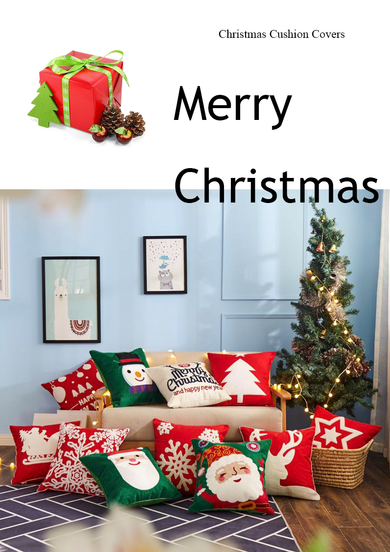 christmas cushion cover embroidery design for home decoration sofa cushion