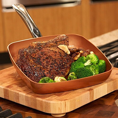 9.5 Inch Pressed Aluminum Square Frying Pan Skillet With Stainless Steel Handle