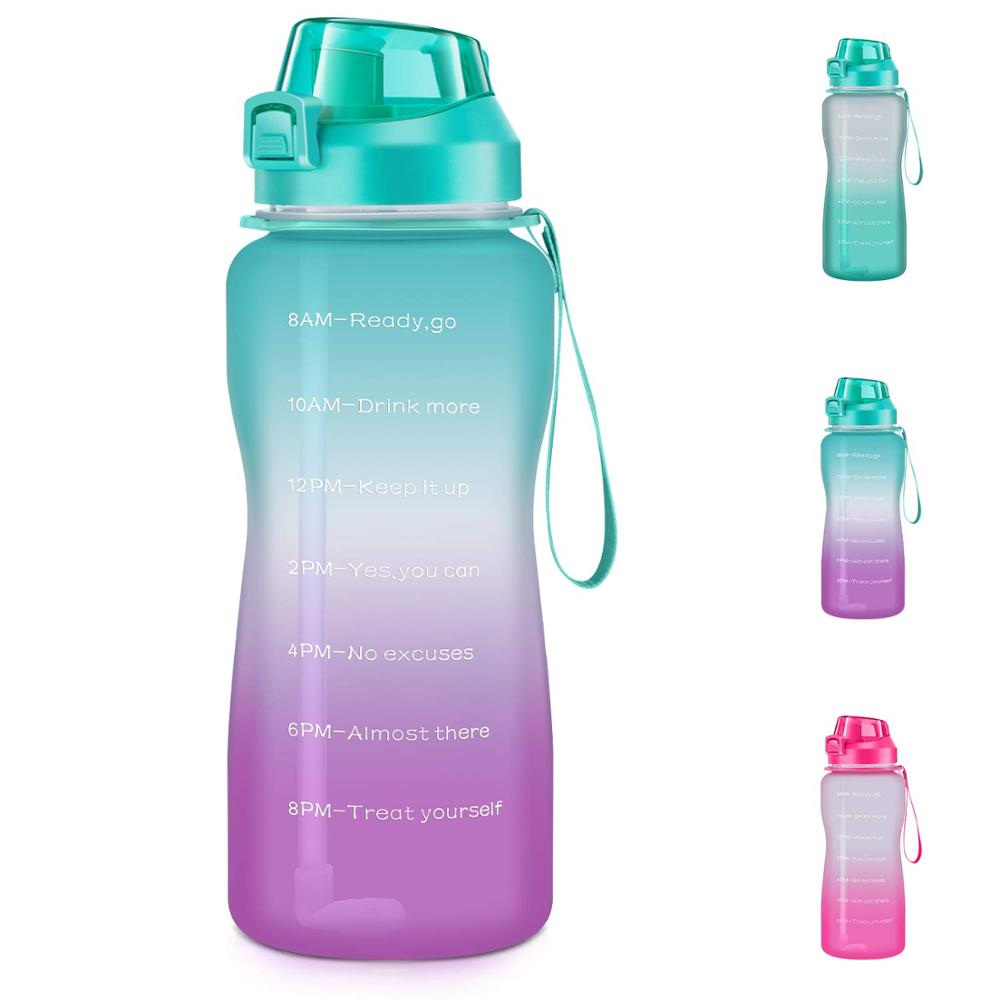 2.2L Half Gallon Large BPA Free Time Marker Fitness sports motivational water <strong>bottle</strong> with Straw