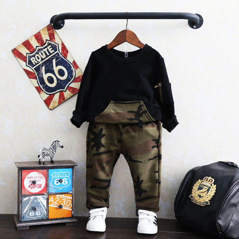 2019 <strong>spring</strong> and autumn suit new Korean fashion boy camouflage casual sweater suit camouflage pant two-piece children sport suit