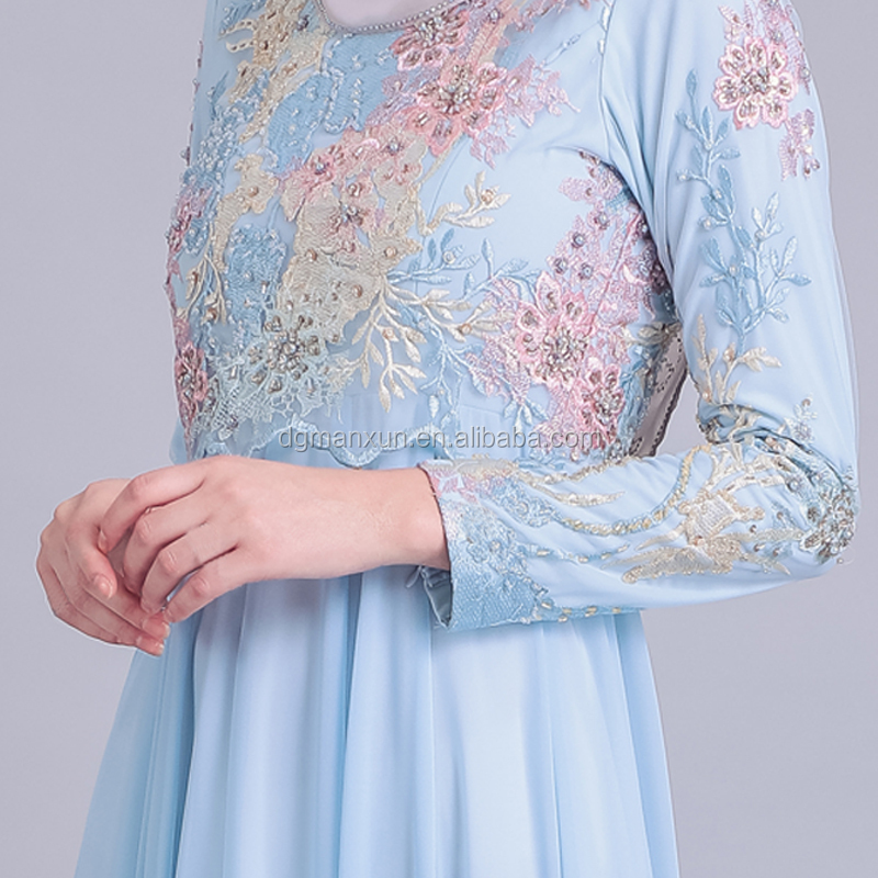 2019 Newest Islamic Clothing Elegant Long Sleeve Muslim Evening Dress New Model Abaya In Dubai With Heavy Lace Appliques
