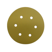 6inch 6holes P120 hook and loop Aluminum Oxide gold abrasive sandpaper disc for polishing wood