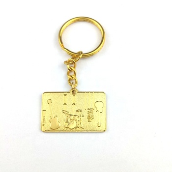 New customized  gold guitar  new design custom  metal keychain