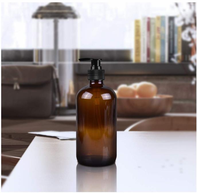 Refillable Amber Glass Lotion Pump Bottles 8oz, 16oz