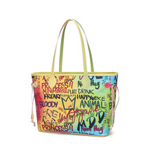 TS9045 New <strong>designers</strong> high quality large capacity lady pu leather rainbow hand bag for women ladies graffiti tote bags
