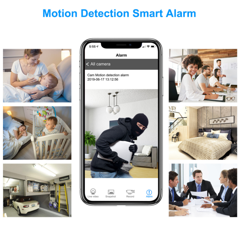 Motion detection smart Alarm of 1200MP Wireless Hidden Clock Camera with Built-in 1000mAh Power Bank