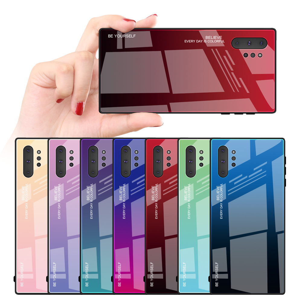 Wholesale Gradient Note 10 Tempered Glass TPU Cell Phone Case For Samsung Galaxy Note10 PLUS