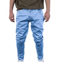China OEM Design Factory Men's Solid Color Jeans New Skinny Denim Pencil Pants Fashion Casual Straight Stretch Trousers