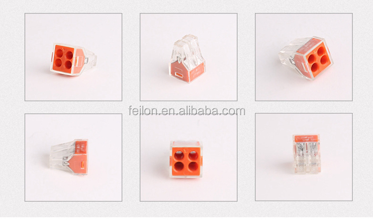 Building construction wire connector PCT-104 replace 773-104 one in three out junction box 4 conductor hard wire terminal block