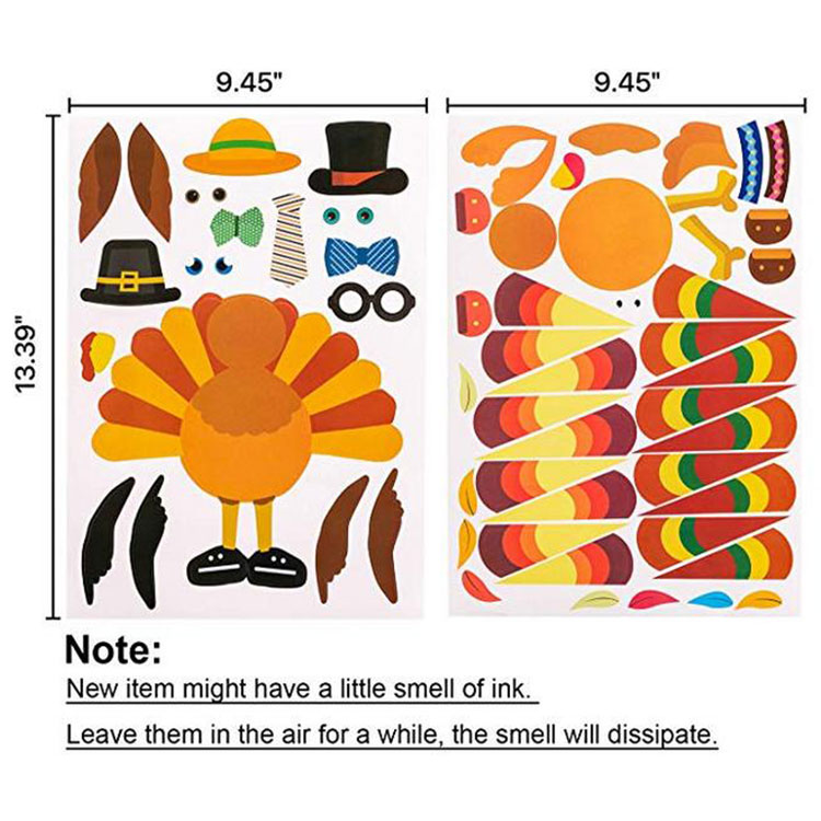Make-A-Turkey Thanksgiving Party Label Stickers