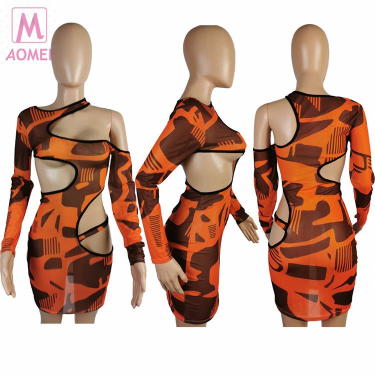 T4019 Seethrough Hollow Out Sexy Long Sleeve Wholesale Bodycon Latest Floral Mini Summer Lady Fashion Short Apparel Women Dress