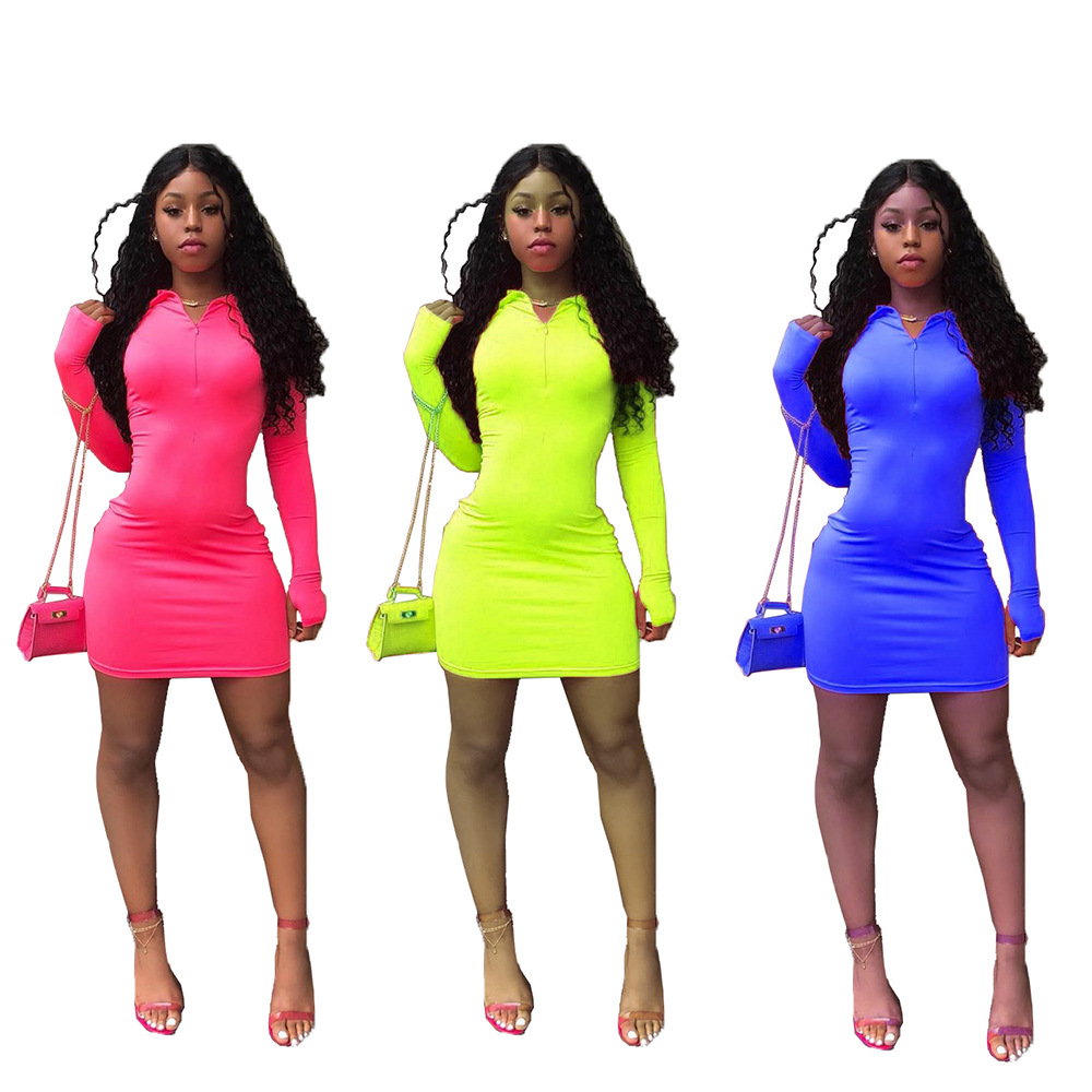2019 Women Casual Girls Dress Bodycon Ladies Dresses Fashion Neon Long Sleeve Dress