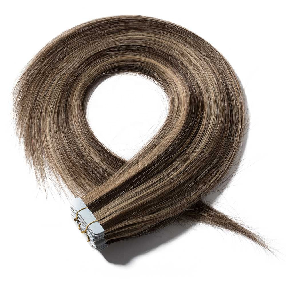 european hair 100% Remy <strong>Human</strong> Double Drawn Invisible Tape in Hair Extensions balayage color #4/27