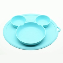 HeaLeanLo new design mickey shape food grade silicone kitchen non stick mat baby <strong>plates</strong>