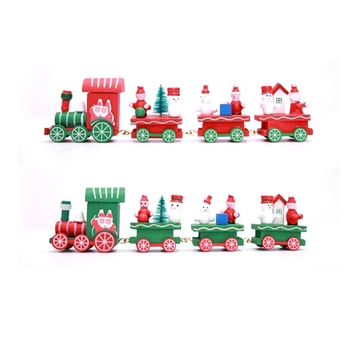 Christmas decorations Christmas wooden train ornaments Santa children gifts