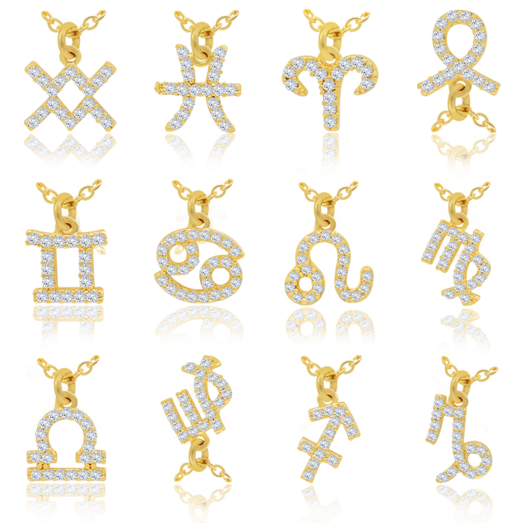 new fashion simple brass zircon zodiac necklaces sign quantum <strong>jewelry</strong>