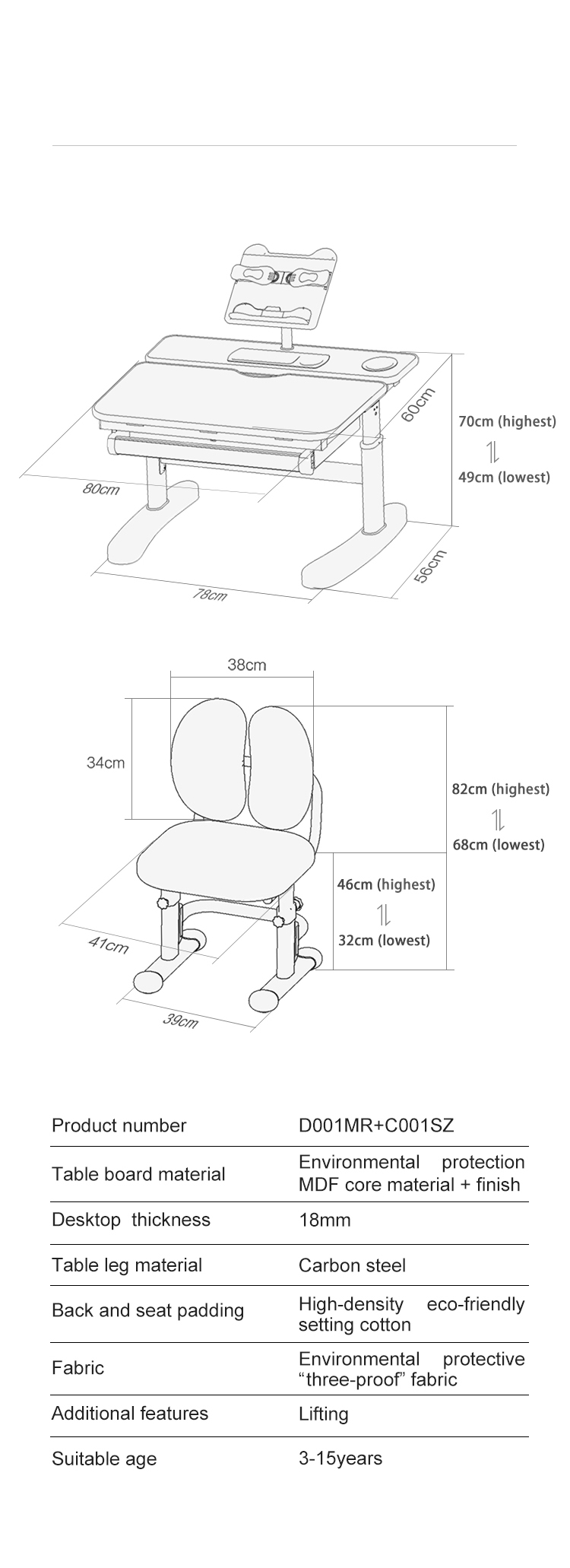 IGROW Height adjustable children furniture  student study table and chair