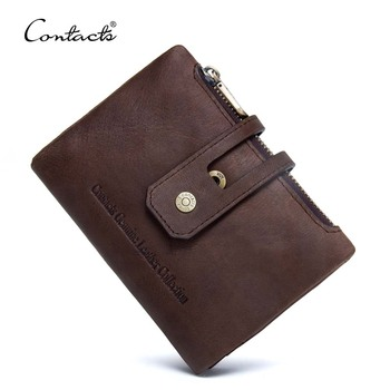 contact's dropship factory wholesale high quality oil nubuck leather vintage short billfold men leather money purse with pockets