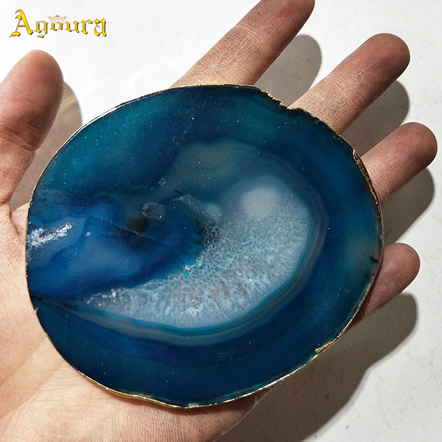 Best-selling mixed color natural raw stone slice creative background hanging painting polished agate coaster