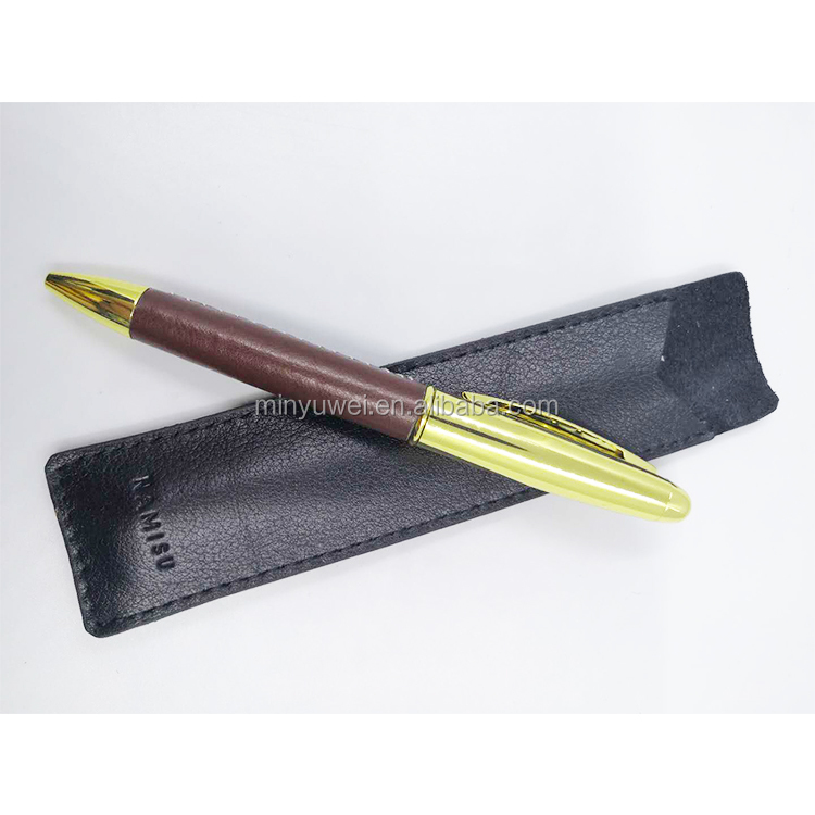 wholesale gold color Metal material twist ball pen with brown Handmade stitching style PU leather cover around
