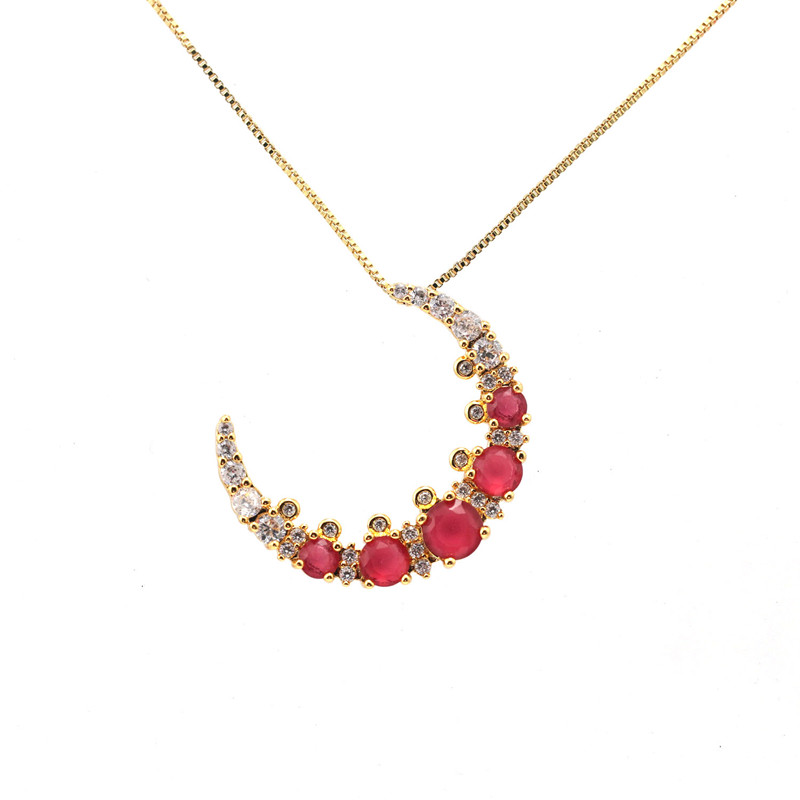 cubic zirconia 18k gold ruby moon pendant for girls