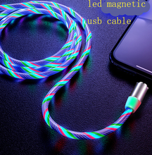 2019 update seven color led flowing light usb cable magnetic 3in1 usb cable led light magnetic usb data charging cable phone