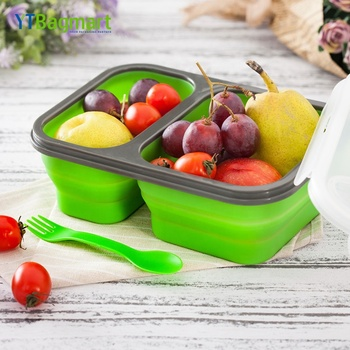 Collapsible 2 3 Compartment Platinum Silicone Lunch Bento Box with Spoon Fork