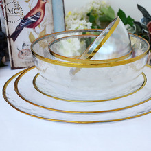 Nordic Style Gold Rim Glass Dinner <strong>Plate</strong> Transparent Dessert Bowl Western Dish Creative Salad Tray Fruit <strong>Plate</strong> Dinnerware Sets
