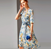 2020 Fashion V-neck Half Sleeve Patchwork Printed A-line Tunic Silk Dress For Ladies