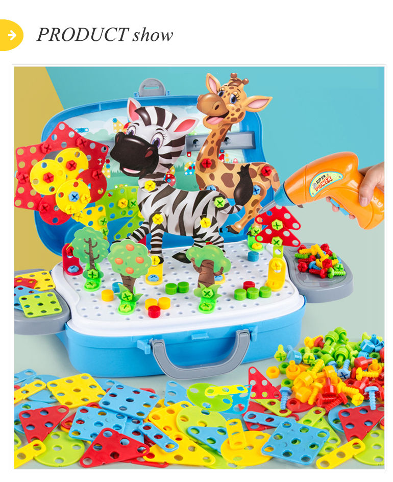 Kids educational 3d electric hand drill puzzle 248 pcs tools assemble block diy screw toy