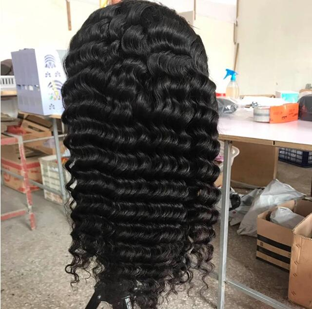 Hair vendors free sample Deep wave lace frontal wig from Indian temple hair wholesale price cheapest free sample wig