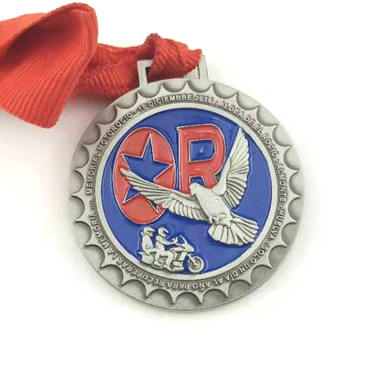 Factory high quality  Custom  Running Swimming Sports Award Metal Medal with Ribbon