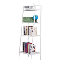 White Ladder <strong>Shelf</strong> 4 Tier Bookshelf Metal Bookcase Home Storage Rack Indoor Plant Flower Stand <strong>Shelves</strong>