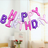 16 inch Happy Birthday Letters Aluminum Foil Balloons for Birthday Party Decoration