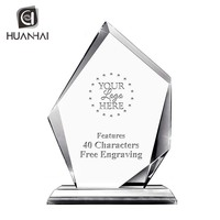custom logo laser engraving irregular shape transparent crystal trophy award