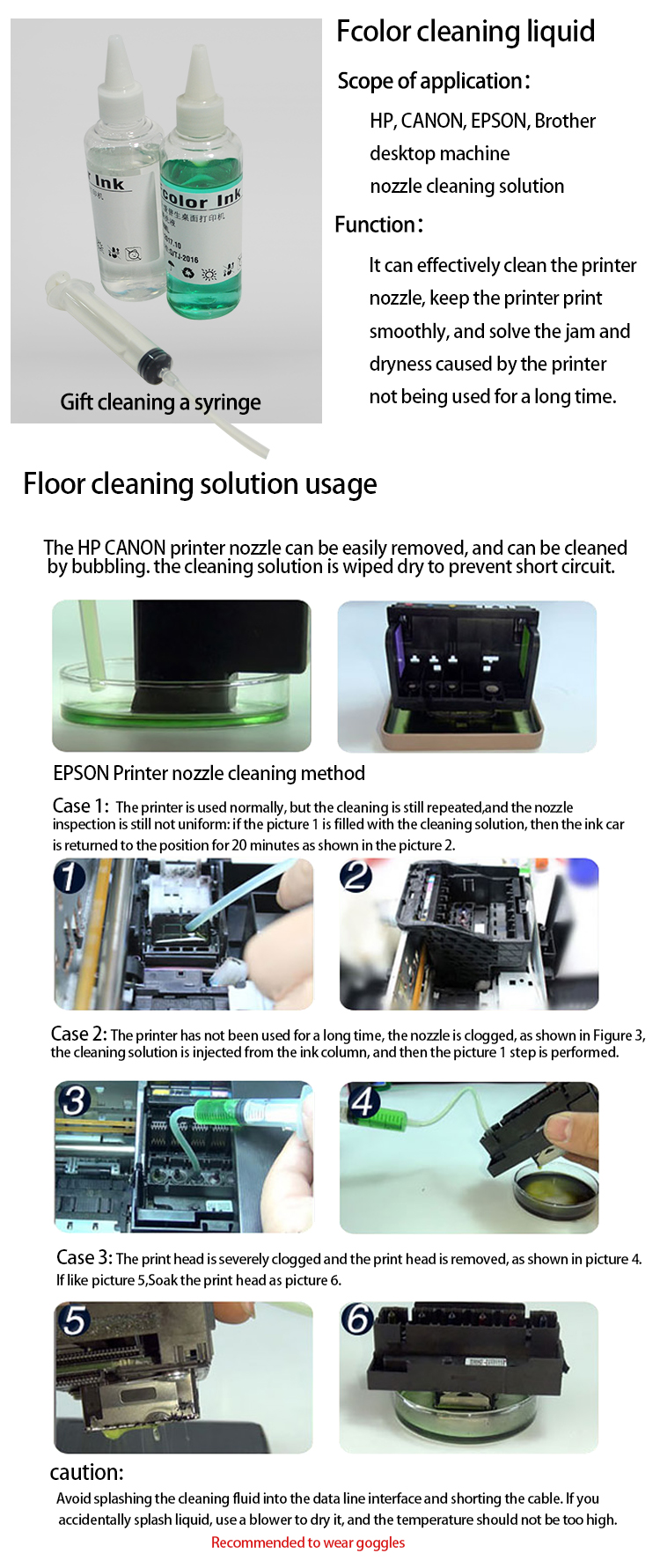 Good quality Fcolor factory cleaning solution for dx7