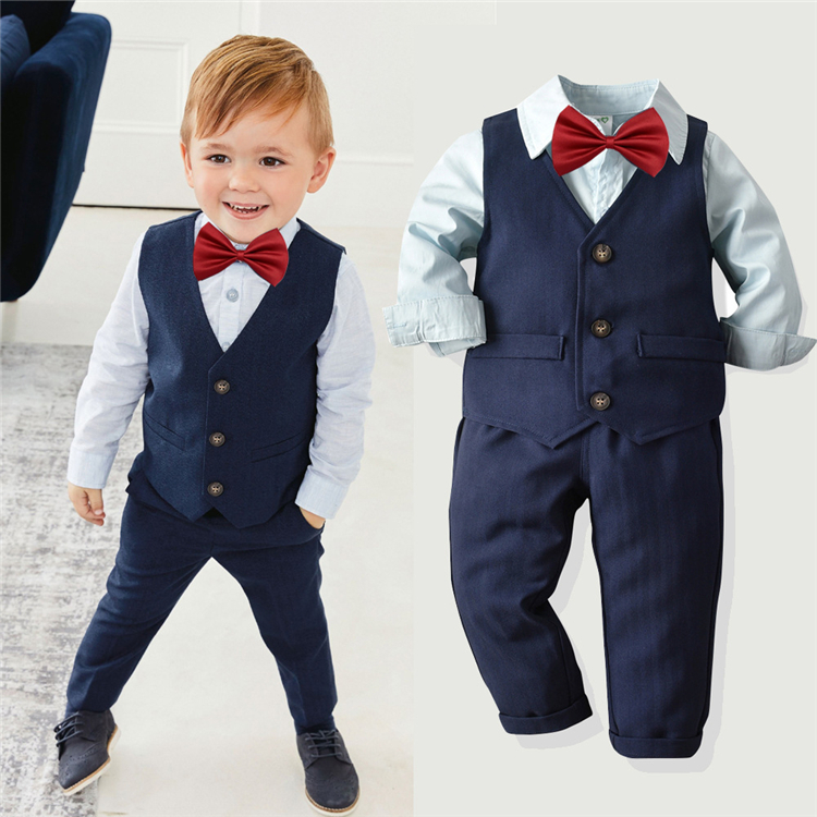 Wholesale clothing baby china formal set fashion baby boy clothes set