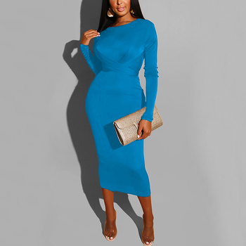 Hot Style Party Solid Maxi Bud Long Sleeve Hot Night Sexy Bodycon Women Dress
