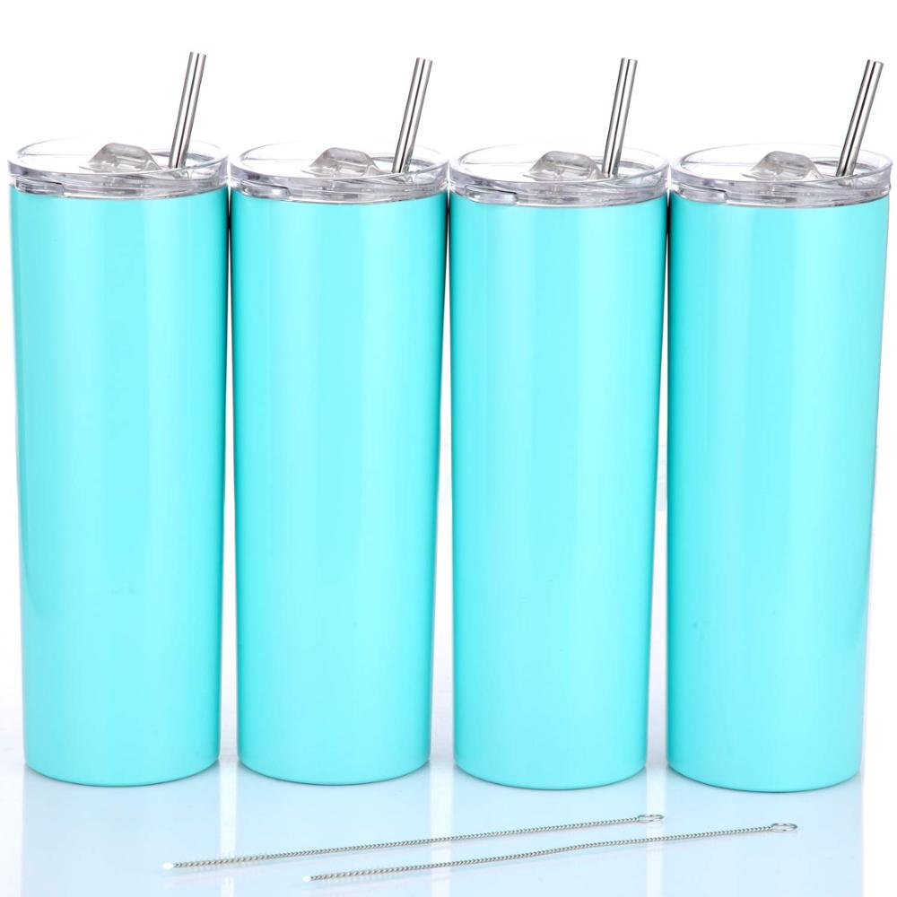 4 Pack Stainless Steel Skinny Tumbler 20OZ Double-Insulated Water Tumbler Cup With Lid and Straw Travel Mug With Cleaning Brush