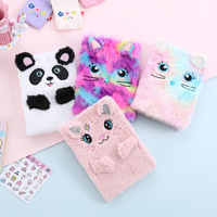 Glittery Plush Cute Cat Panda Diary Furry Notebook,Perfect Diary or Journal for Girls