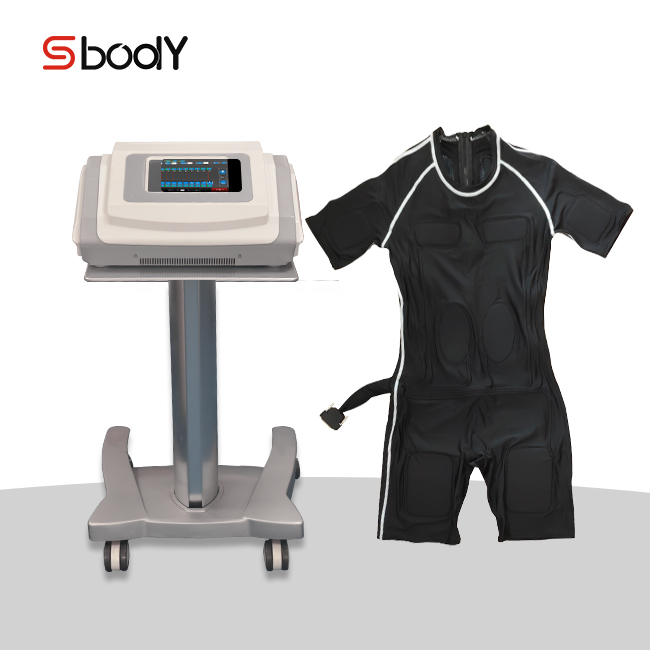 Advanced electric muscle stimulation ems fitness machine with ems training body fitness suits