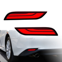 3D Optic Red LED Rear Bumper Reflectors Brake Tail Lights Lamps For 2018 2019 Toyota Camry